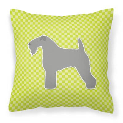 Kerry Blue Terrier Indoor/Outdoor Throw Pillow Size: 14 H x 14 W x 3 D, Color: Green