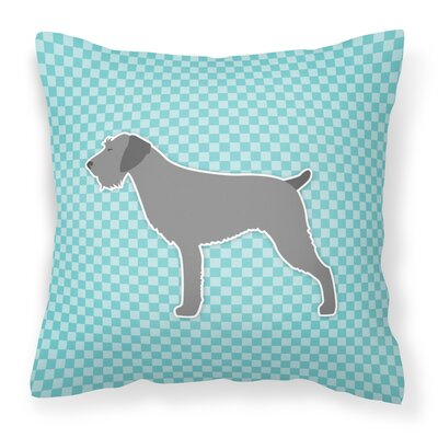 German Wirehaired Pointer Indoor/Outdoor Throw Pillow Size: 14 H x 14 W x 3 D, Color: Blue