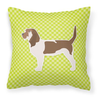 Grand Basset Griffon Vendeen Indoor/Outdoor Throw Pillow Size: 14 H x 14 W x 3 D, Color: Green