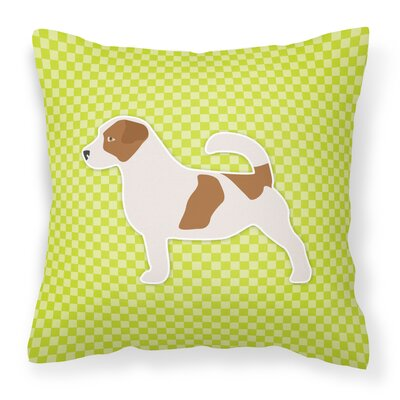 Jack Russell Indoor/Outdoor Throw Pillow Size: 18 H x 18 W x 3 D, Color: Green