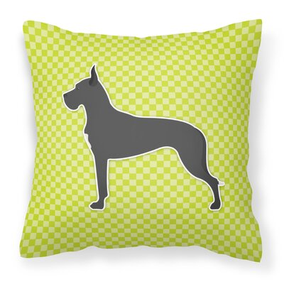 Great Dane Indoor/Outdoor Throw Pillow Size: 14 H x 14 W x 3 D, Color: Green