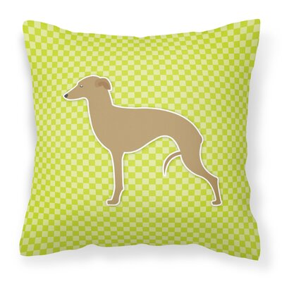 Italian Greyhound Indoor/Outdoor Throw Pillow Size: 14 H x 14 W x 3 D, Color: Green