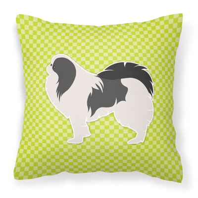 Japanese Chin Indoor/Outdoor Throw Pillow Size: 18 H x 18 W x 3 D, Color: Green