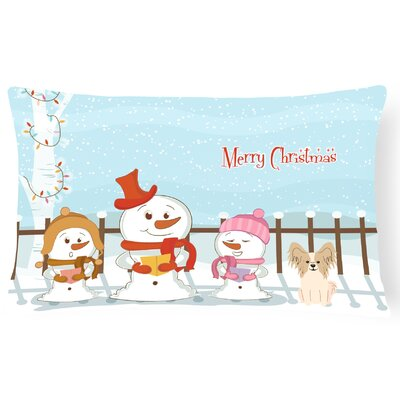 Merry Christmas Indoor/Outdoor Lumbar Pillow Color: Sable/White