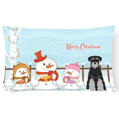 Merry Christmas Indoor/Outdoor Lumbar Pillow Color: Black/Gray