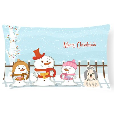 Merry Christmas Indoor/Outdoor Lumbar Pillow Color: Silver/White
