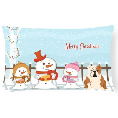 Merry Christmas Indoor/Outdoor Lumbar Pillow Color: Fawn/White
