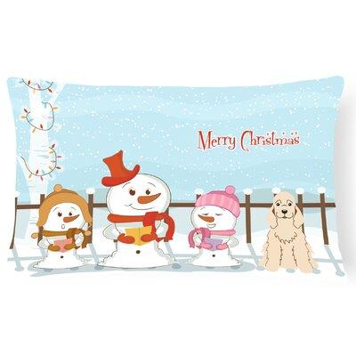 Merry Christmas Indoor/Outdoor Lumbar Pillow Color: Buff
