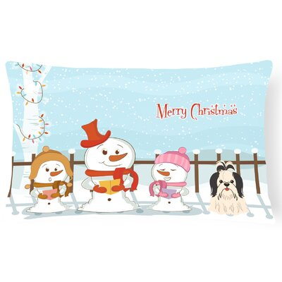 Merry Christmas Indoor/Outdoor Lumbar Pillow Color: Black/White