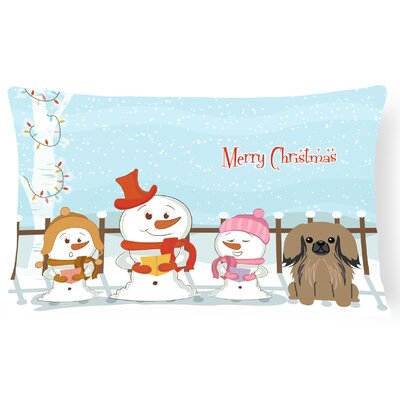 Merry Christmas Indoor/Outdoor Lumbar Pillow Color: Tan