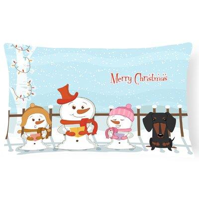 Merry Christmas Indoor/Outdoor Lumbar Pillow Color: Black/Tan