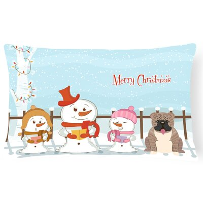 Merry Christmas Indoor/Outdoor Lumbar Pillow Color: Gray