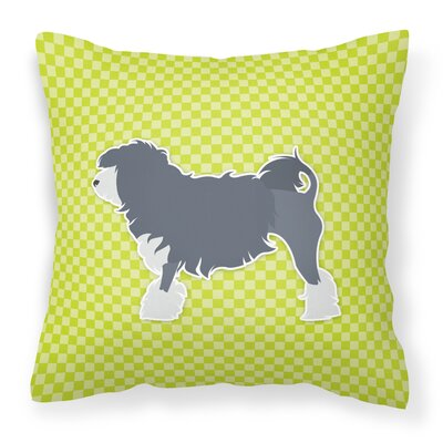 Lowchen Indoor/Outdoor Throw Pillow Size: 14 H x 14 W x 3 D, Color: Green