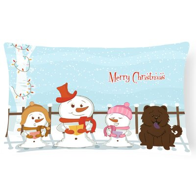 Merry Christmas Indoor/Outdoor Lumbar Pillow Color: Chocolate