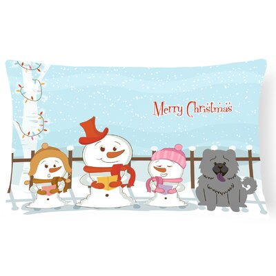 Merry Christmas Indoor/Outdoor Lumbar Pillow Color: Blue