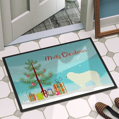 Komondor Merry Christmas Tree Indoor/Outdoor Door Mat Rug Size: 2 x 3