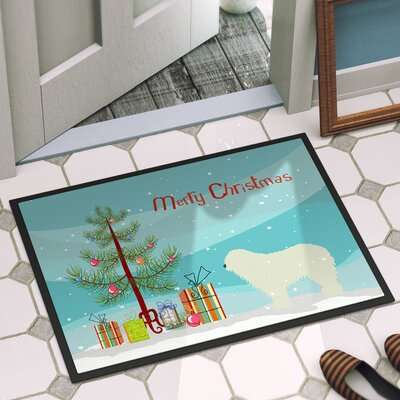 Komondor Merry Christmas Tree Indoor/Outdoor Door Mat Rug Size: 16 x 23