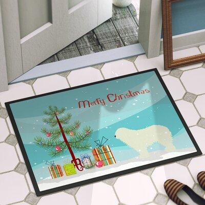 Komondor Merry Christmas Tree Indoor/Outdoor Door Mat Mat Size: 16 x 23