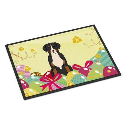 Easter Eggs Greater Swiss Mountain Dog Indoor/Outdoor Doormat