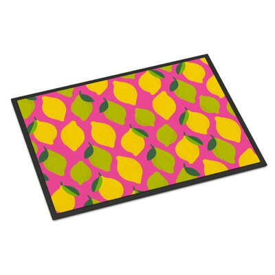 Lemons and Limes Indoor/Outdoor Doormat Color: Pink
