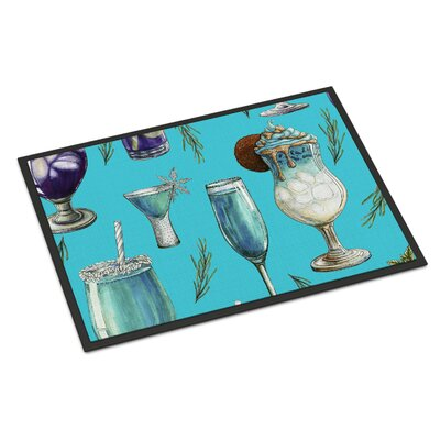 Drinks and Cocktails Indoor/Outdoor Doormat Color: Blue