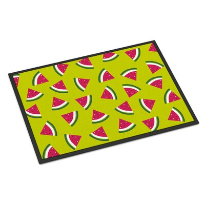 Watermelon Indoor/Outdoor Doormat Color: Lime Green