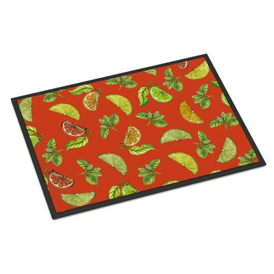 Lemons, Limes and Oranges Indoor/Outdoor Doormat Color: Orange