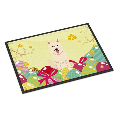 Easter Eggs White German Shepherd Indoor/Outdoor Doormat