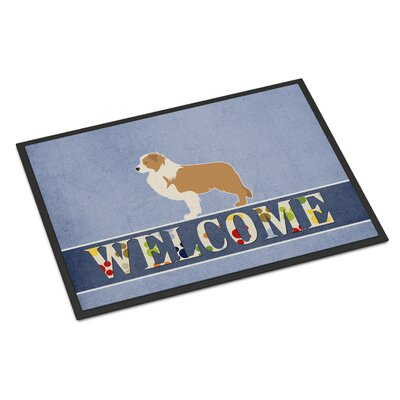 Border Collie Indoor/Outdoor Doormat Color: White/Brown