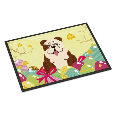 Easter Eggs English Bulldog Indoor/Outdoor Doormat Color: Whtie