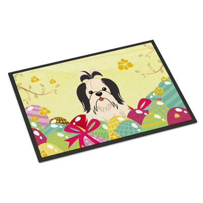 Easter Eggs Shih Tzu Indoor/Outdoor Doormat Color: Black/White