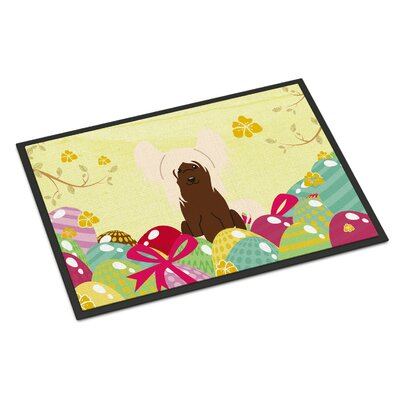 Easter Eggs Chinese Crested Indoor/Outdoor Doormat Color: Cream