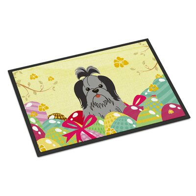 Easter Eggs Shih Tzu Indoor/Outdoor Doormat Color: Black/Silver