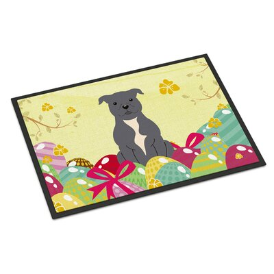 Easter Staffordshire Bull Terrier Indoor/Outdoor Doormat Color: Blue