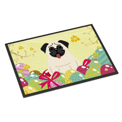 Easter Eggs Pug Indoor/Outdoor Doormat Color: Cream