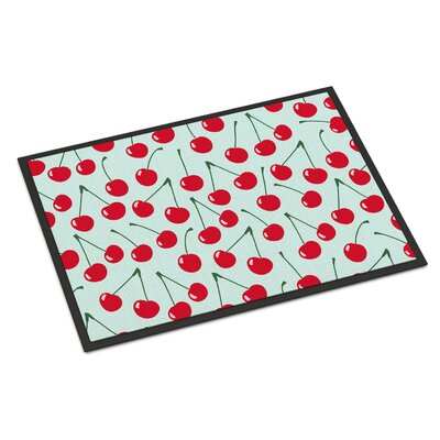 Cherries Indoor/Outdoor Doormat Color: Blue
