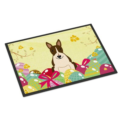Easter Eggs Bull Terrier Indoor/Outdoor Doormat Color: Dark Brown