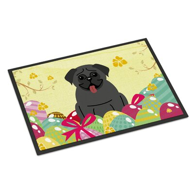 Easter Eggs Pug Indoor/Outdoor Doormat Color: Black