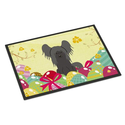Easter Eggs Chinese Crested Indoor/Outdoor Doormat Color: Black