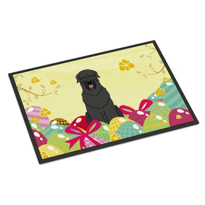 Easter Eggs Black Russian Terrier Indoor/Outdoor Doormat