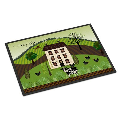 Folk Art Country House Indoor/Outdoor Doormat