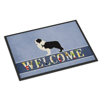 Border Collie Indoor/Outdoor Doormat Color: White/Black