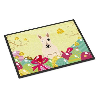 Easter Eggs Bull Terrier Indoor/Outdoor Doormat Color: White