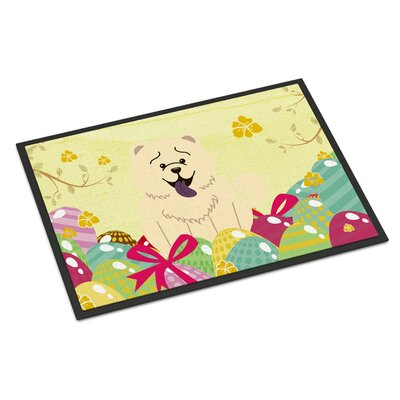 Easter Eggs Chow Chow Indoor/Outdoor Doormat Color: White
