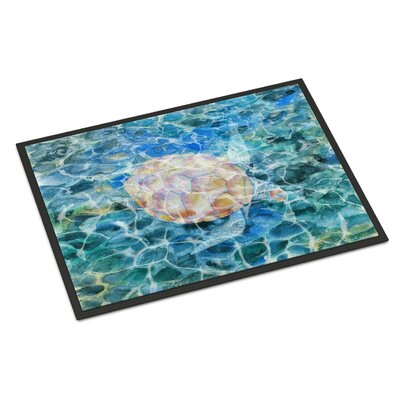 Sea Turtle Under Water Indoor/Outdoor Doormat