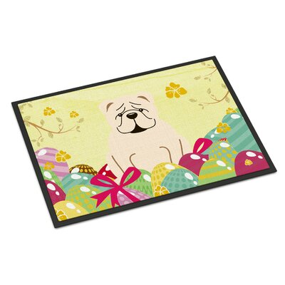 Easter Eggs English Bulldog Indoor/Outdoor Doormat Color: White