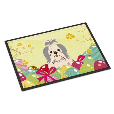 Easter Eggs Shih Tzu Indoor/Outdoor Doormat Color: Silver/White