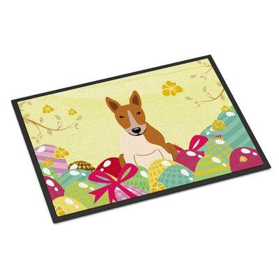Easter Eggs Bull Terrier Indoor/Outdoor Doormat Color: Red/White