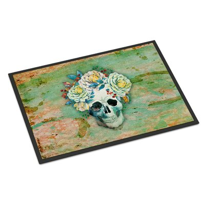 Skull with Flowers Indoor/Outdoor Doormat