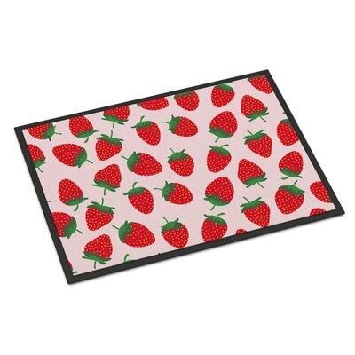 Strawberries Indoor/Outdoor Doormat Color: Pink